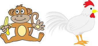 Lo zodiaco cinese ha impostato 5: Scimmia e gallo Fotografia Stock