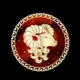 Lo zodiaco dell'Ariete firma dentro la struttura del cerchio illustrazione di stock