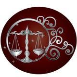 Lo zodiaco della Bilancia firma dentro la struttura del cerchio illustrazione vettoriale