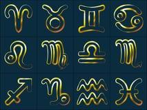 Lo zodiaco dorato firma l'acquario ed i pesci di capricorno di Sagittario di scorpione di Aries Taurus Gemini Cancer Leo Virgo Li Fotografia Stock