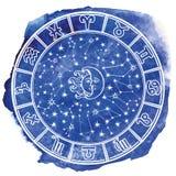 Lo zodiaco firma dentro il cerchio dell'oroscopo Acquerello blu Immagini Stock Libere da Diritti