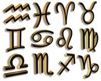 Lo zodiaco firma dentro il nero e l'oro illustrazione di stock