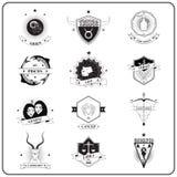 Lo zodiaco firma dentro lo stile d'annata del distintivo Fotografia Stock Libera da Diritti