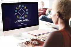 Lo zodiaco firma il concetto astrologico dell'oroscopo di previsione fotografie stock libere da diritti