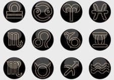 Lo zodiaco firma il nero dei cerchi Fotografia Stock Libera da Diritti