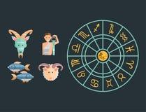 Lo zodiaco firma l'insieme piano della figura ascendente vettore dell'astrologia della raccolta della stella di simboli dell'oros Immagine Stock