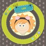 Lo zodiaco firma la raccolta. Oroscopo sveglio - LEO. Immagini Stock Libere da Diritti