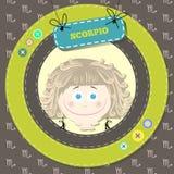 Lo zodiaco firma la raccolta. Oroscopo sveglio - SCORPIONE. Fotografia Stock Libera da Diritti