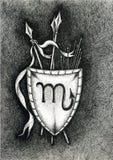Lo zodiaco firma lo scorpione Disegnato a mano con la spazzola dell'inchiostro Illustrazione di vettore Fotografie Stock Libere da Diritti