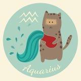 Lo zodiaco sveglio firma l'icona aquarius Immagine Stock