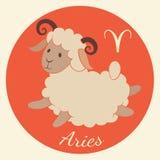 Lo zodiaco sveglio firma l'icona aries Fotografia Stock Libera da Diritti