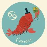 Lo zodiaco sveglio firma l'icona cancro Immagine Stock