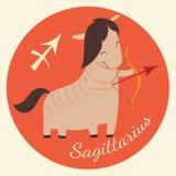 Lo zodiaco sveglio firma l'icona sagittarius Fotografia Stock