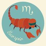 Lo zodiaco sveglio firma l'icona scorpio Fotografia Stock