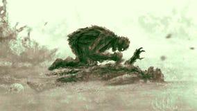 Lo zombie arrabbiato si siede e mangia la sua preda Colore verde illustrazione vettoriale