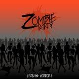 Lo zombie profila la folla che cammina in avanti Fotografia Stock
