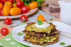 Lo zucchini frittella sano Fotografia Stock Libera da Diritti