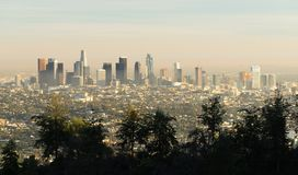 Loa Angeles Downtown City Skyline Sunset Καλιφόρνια μητρόπολη στοκ εικόνες με δικαίωμα ελεύθερης χρήσης