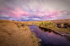 Loa river to the dusk in atacama desert stock photo