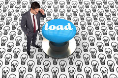 Load against blue push button Royalty Free Stock Photo