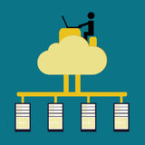 Load balance concept. With public cloud and user vintage color royalty free illustration