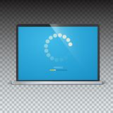 Load bar for mobile apps, web preloader on screen of laptop. Radial load, update or download diagram icon of progress. Bar, minimal flat design. Isolated on Stock Images