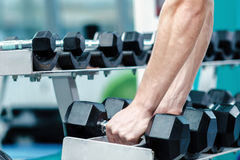 Load on the biceps. Successful athlete working out with dumbbell Stock Photo