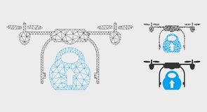 Load Cargo Drone Vector Mesh Carcass Model and Triangle Mosaic Icon. Mesh load cargo drone model with triangle mosaic icon. Wire frame polygonal mesh of load stock illustration