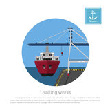 Load cargo ship in the port. Unloading containers by a seaport crane. Vector illustration Stock Photos