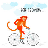 Load Happy New Year 2016 is coming concept. Red monkey rides a bicycle. Stylish design. Vector illustration (eps10).Winter season (December, january). Message Royalty Free Stock Image