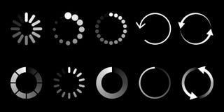 Load icon. Circle website buffer loader or preloader. Vector donload or upload status icon royalty free illustration