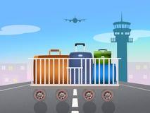 Load luggage on plane Stock Image