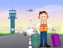 Load luggage on plane Royalty Free Stock Photo