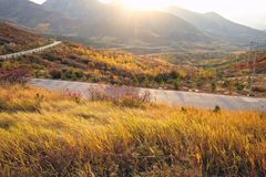 A load in the mountain in autumn season in loess plateau in china Royalty Free Stock Photo