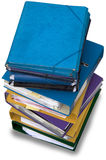 A load of Office binders. Pile of Office binders in different colors seen from above and  on white Royalty Free Stock Image