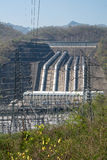 Load power plant of large dams on the river vertical view. Royalty Free Stock Image