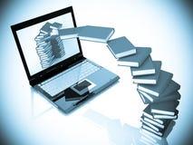 Load (upload) information. Laptop and books background. 3D render stock illustration