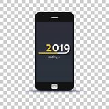 Load year 2019 in mobile phone pasted on photo paper vector illustration