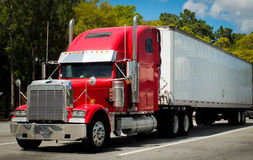 A Loaded American Truck. A large American truck, used for transporting heavy goods interstate, across America Royalty Free Stock Image