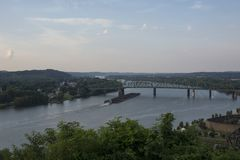 Loaded barge on the Ohio river royalty free stock image