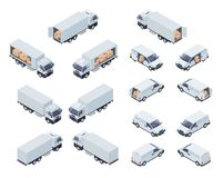 Loaded Cargo Vehicles Isometric Vector Icons Set vector illustration