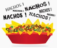 Loaded cheese nacho with meat and jalapeno. Loaded cheese nacho plate with meat and jalapeno with multiple nacho word text Royalty Free Stock Photos