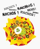 Loaded cheese nacho plate with sour cream and guacamole. With multiple nacho word text Royalty Free Stock Images