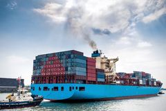 Loaded container ship in the port of Rotterdam Royalty Free Stock Photos