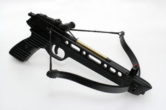 Loaded crossbow handgun. Picture of a loaded crossbow pistol. A very strong one. Has a 20 kg bow Stock Photo