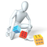 Loaded dice. Man throwing colored dice on white Royalty Free Stock Photo