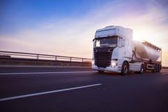 Loaded European truck tank on motorway Royalty Free Stock Photography