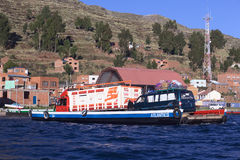 Loaded Ferry on Lake Titicaca at Tiquina, Bolivia Stock Photography