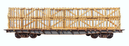 Loaded freight carriage. Royalty Free Stock Photography