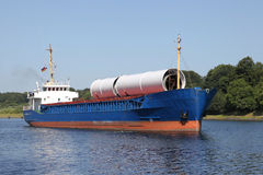Loaded freighter on Kiel Canal Royalty Free Stock Photography